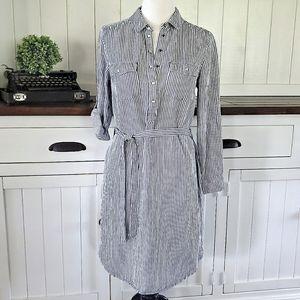 Boden Blue White Stripe Snap Shirt Dress 12 Large